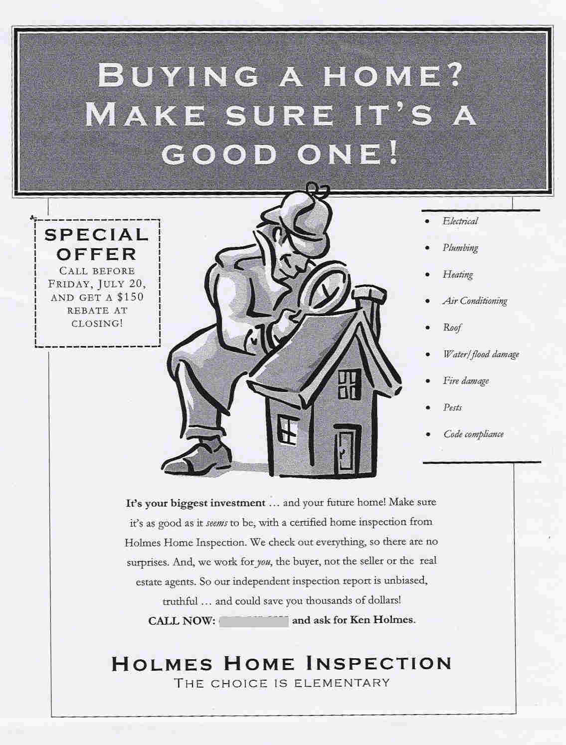 Flyer for a home inspection company